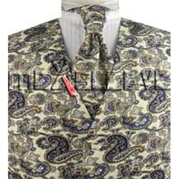 ingrosso vestiti di colori misti-Abito retrò da uomo Tuxedo Dress mix colore stampato paisley Vest + cravatta