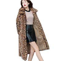 sahte kürk kore toptan satış-Avrupa Moda Kış yeni Kore Faux Fur Leopar Ceket İnce Kadınlar Faux Kürk Ceket uzun bölüm ince sıcak ceket kadın G991 oldu