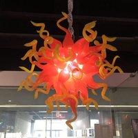 luz colgante amarillo rojo al por mayor-Red pendiente de la iluminación moderna y amarillo del estilo de soplado a mano de cristal araña de cristal colgante LED de iluminación baratos Living luces de la habitación