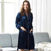 kimono de seda azul marino al por mayor-Xifenni mujer bata de dormir sexy de seda de imitación ropa de dormir mujer de manga larga azul marino albornoces kimono elegante seda 2823