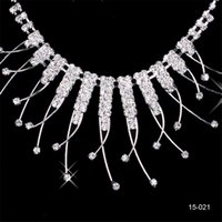Wholesale crystal necklaces for women resale online - New Cheap Hot Sale Crystal Flower Earring Necklace Set Bridal Party Lobster Clasp Jewel Sets for Prom Evening Women