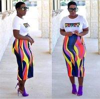 vestido estampado venda por atacado-Moda-Africano Vestidos Africano Roupas de Poliéster 2018 Produtos de Moda Feminina Impresso Saco Quadril Saia Mulheres Vestido Set