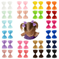 Wholesale children hairclips resale online - 2 inches children hairclips girl solid bows barretes baby boutique hair accessories kids hairpins color M097