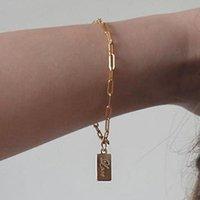 titan charme armbänder großhandel-Designer Schmuck Titan Stahl Armbänder lieben Anhänger 14k vergoldet Armbänder anmutig für Frauen heiße Mode