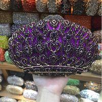 фиолетовые сумочки свадьбы оптовых-Purple/Silver/Red/Pink 5 Colors Crown Diamonds Metal Clutch Bag Women Party Evening Bags Metal Crystal Ladies Wedding Handbags
