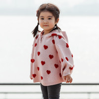 Wholesale girls heart sweater resale online - Ins Baby Girls Cloak Sweater Heart Hooded Knitted Poncho Sweater Children Girl Sweaters W418