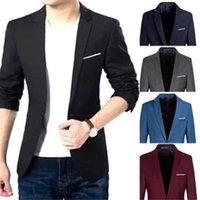 ingrosso coreani casual blazers per gli uomini-Giacca da uomo casual slim fit in cotone coreano da uomo Suit nero blu plus taglia M a 3XL Giacche maschili