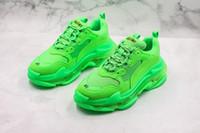 chaussures à talons épais vert achat en gros de-2019 Avec Combinaison De Boîte En Bas Paris Triple-s Vert Citron Vert Grand-Père Chaussures Hommes Femmes Baskets Décontractées Épais Talon Hommes Formateur