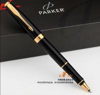 parker sonnet kugelschreiber großhandel-Parker Metall Silber Gold Sonnet Roller Pen Medium Nib 0.5mm Unterschrift Kugelschreiber Geschenk Kugelschreiber zum Schreiben Schule Büro Lieferanten Permanent