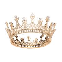 diamond reines haar großhandel-Elegante Runde Klar Zirkon Hochzeit Diademe Stirnbänder Kristall Braut Haarschmuck Abend Haar Schmuck Geburtstagsgeschenke
