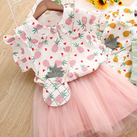 Wholesale baby clothing outfits online - Latest design baby girls summer outfits dress set Pineapple printed baby girl cute T shirt tutu skirts clothing set children mesh set