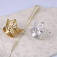 Wholesale crown home for sale - Group buy Golden Silvery Color Set With Diamonds Napkin Ring Alloy Imperial Crown Rings Home Furnishing Ornament New Arrival sd L1