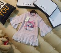 vestido de trompeta estampado al por mayor-Vestido de niñas ropa de diseñador para niños vestidos de patrón de gato de dibujos animados de otoño falda de diseño de manga de trompeta puños falda de suéter con adornos de encaje