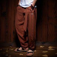 Wholesale fiber calf resale online - Chinese Style Male Crane Embroidery Harem pants Men Calf Length Cotton Linen Bermuda Masculina Male traditional oriental Pants