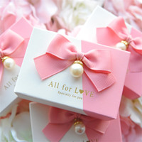 Wholesale baby bomboniere boxes resale online - Pearl ribbon bowknot Wedding Birthday Guests Event party pink Candy box baby shower Party Supplies Bomboniere