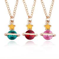 Wholesale choker necklace metal enamel for sale - Lovely Cartoon Crystal Planet Star Pendant Necklaces Enamel Alloy Metal Chain Rhinestone Choker Necklace Women Fashion Jewelry