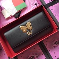 ingrosso portafoglio in pelle nera con zip-New Portafoglio continental in pelle con farfalla Portafoglio donna Mini bag Pelle nera Luxury designer Fashion bag
