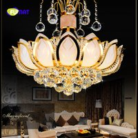 Wholesale 15 ball chain for sale - Group buy FUMAT Gold Lotus Shape Crystal K9 Stainess Steel LED Pendant Lighting Modern Chinese Luxury Lustres Hanging Crystal Balls Lamp