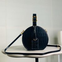 Wholesale nails leather for sale - Group buy Crossbody Bag Round Bucket Bag High Quality Hot Style Fashion Adjustable Leather Handle Plain Metal Nail Genuine Leather Alligator