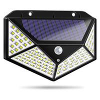 sensor de movimiento para leds al por mayor-Luces LED solares al aire libre 3 modos 100 LED Lámpara solar Jardín Sensor de movimiento 270 grados impermeable IP65 Luz de seguridad solar ZZA270