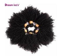 siyah kıvırcık saç toptan satış-Kabarık Kıvırcık Sentetik Örgü 6 Adet / grup Doğal Kısa Saç Refah Paketleri Siyah Saç Dokuma 6 Inç