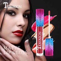 Wholesale long lasting 12 lipstick for sale - Teayason velvet matte lip gloss colors waterproof long lasting sexy red nude brown lip tint liquid lipstick