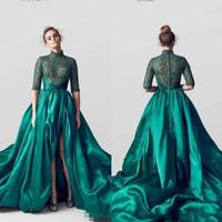 berta gece elbiseleri toptan satış-Zümrüt Yeşil Berta Uzun Bölünmüş Abiye 2019 Örgün Törenlerinde Arapça Kadınlar Vintage Balo Parti Elbise Vestidos de fiesta BC1813