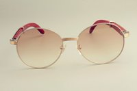 tapınak güneş gözlüğü toptan satış-Toptan Satış - Toptan-2019 yeni sıcak yuvarlak çerçeve güneş gözlüğü 19900692 güneş gözlüğü, retro moda güneşlik, doğal ahşap tapınak güneş gözlüğü
