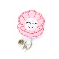 suporte de crachá de sorriso venda por atacado-strass bonito rosa sorrindo nome yoyo flor Retrátil cartão de identificação Crachá Carretel titular para enfermeira
