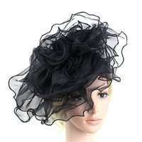 Wholesale wedding fedoras for sale - Group buy Fedoras Hombre Women Fashion Wedding Mesh Hat Fascinator Penny Ribbons And Feathers Party Elegant Hats For Women AG31
