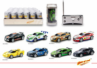 coche de carreras micro rc al por mayor-48pcs / lot Creative Coke Can Control remoto Mini Speed ​​RC Micro Racing Car Vehicles Regalo para niños Regalo de Navidad Radio Contro Vehicles