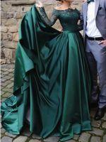 Wholesale drape cap sleeve evening dress resale online - Elegant Muslim Long Sleeve Lace Green Evening Dresses Off the Shoulder Satin Formal Prom Dress Party Ball Gown