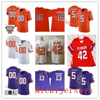 Wholesale clemson football jerseys resale online - Mens Custom Clemson Tigers Football Jersey Trevion Thompson Tee Higgins Kyler McMichael William Perry Justin Mascoll Clemson Tigers Jersey