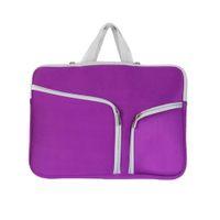 saco do zipper do neopreno do portátil venda por atacado-Neoprene Trabalho Durable Handbag Zipper Encerramento à prova de choque Laptop Bag Prático viagem manga caso de armazenamento portátil de bolso múltipla
