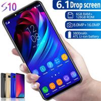 teléfono celular android 4g 16g al por mayor-Goophone S10 6.1 pulgadas MTK6580p desbloqueado teléfono celular octa core Android 9.1 1G + 16G muestra 6g + 128g falsa red 4G