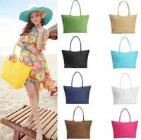 Wholesale clutch bags online - Women Summer Straw tote Purse Straw Weave Shoulder Tote Shopping Lady Beach Bag Purse Handbag LJJK1210