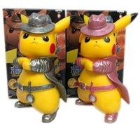 acción de la estatua al por mayor-Figuras de acción Detective Pikachu PVC 17cm Figura Go Angry Kawaii Cute Q Statue Doll Model Toys Figura Figurine Kid Gifts for Birthday