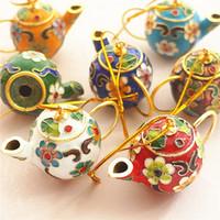 natal da resina da porcelana venda por atacado-Novo Atacado 10PCS China Beijing Destaque Crafts Cloisonne Cloisonne pequeno Ornamento de suspensão do Natal Pot Pendant Jewelry