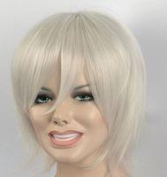 ingrosso bello capelli corti donna-WBY good to USA White Short Natural Straight Beautiful Women Silver Parrucca Calda Cosplay Capelli pieni