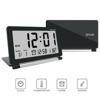 Wholesale clock date temperature resale online - Hot Electronic Alarm Clock Travel Clock Multifunction Silent LED Digital Large Screen Folding Desk Clock Temperature Date Time