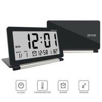 saat tarih sıcaklığı toptan satış-Sıcak Elektronik Çalar Saat Seyahat Saat İşlevli Sessiz LED Dijital Büyük Ekran Katlanır Masa Saati Sıcaklık Tarih Zaman