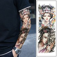 ingrosso grande secchio di fiori-Adesivi tatuaggio personalizzati Nuovo colore Geisha Guan Gong Riding Bucket Victory Buddha Font Big Flower Arm Tattoo Sticker Impermeabile