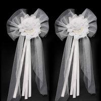 ingrosso nastro di seta di germoglio-Accessori Abiti Silk Ribbon damigella d'onore Pearl Bud fiori per il matrimonio auto archi decorazione festa nuziale posteriore della sedia regalo di Natale Ornamenti