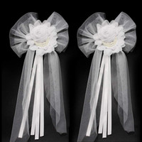 Wholesale wedding car ribbons resale online - Silk Ribbon Bridesmaid Dresses Accessories Pearl Bud Flower for Wedding Car Bows Decoration Bridal Party Chair Back Christmas Gift Ornaments