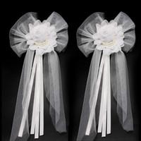 fita de seda bud venda por atacado-Silk Ribbon dama de honra Vestidos Acessórios Pérola Flower Bud para o casamento Car Arcos Partido Decoração nupcial Chair Voltar Presente de Natal Ornamentos