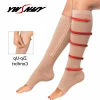 9eb485e867 Zipper Compression Socks 2018 Mens Leg Knee Support Sox Open Toe Sock Burn  Fat Zipper Socks Prevent Varicose Veins 1Pair