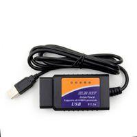 araba tanı tarayıcı pc toptan satış-Yeni ELM327 USB V1.5 OBD2 Araç Teşhis Tarayıcı ELM 327 V 1.5 OBD 2 OBDII Arabirimi PC Tabanlı Otomatik Teşhis-Aracı OBD-II Tarama
