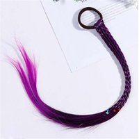 koreanische niedliche frisurmädchen großhandel-Kinder Perücke Zöpfe Multi-Color-Mini-Clip Kinder Gummibänder Haarbänder Mädchen Nette Haarschmuck Korean Style Haar Seil