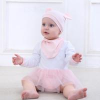 body bio achat en gros de-3pcs bébé filles bodys nouveau-né coton bio enfant en bas âge vêtements mis infantile en mousseline de soie tenue + chapeau + offre bébé fille sous-vêtements