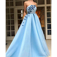 Wholesale flower butterfly images resale online - Applique Sky Light Blue Strapless A Line Evening Dresses Newest A Line Ruffle Prom Gown Flower Length Zipper Butterfly Party Dresses